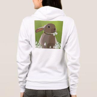 Rabbit eating snowdrops hoodie