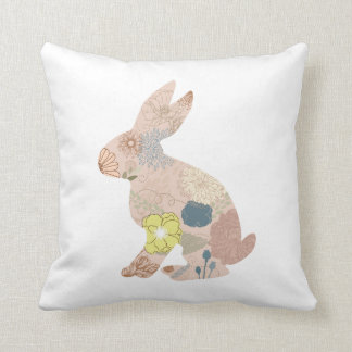 Rabbit Hare Bunny Silhouette flowers floral Throw Pillow
