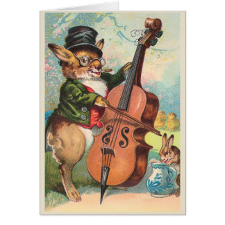 """Rabbit Playing the Cello"" Vintage Card"