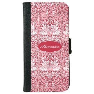 Rabbit Red Pattern Morris Personalised Monogram iPhone 6 Wallet Case