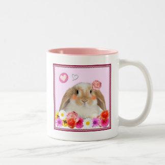 rabbit with flowers Two-Tone mug