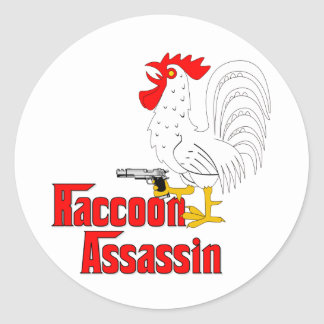 Raccoon Assassin Rooster Classic Round Sticker