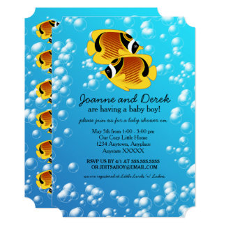 Raccoon Butterflyfish in Bubbly Water 13 Cm X 18 Cm Invitation Card