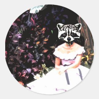 Raccoon Dress Classic Round Sticker