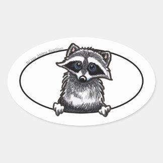 Raccoon Line Art Oval Sticker