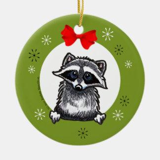 Raccoon Lover Gift Christmas Wreath Ornament