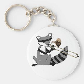 Raccoon Playing the Trombone Key Ring