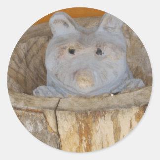 raccoon woodwork classic round sticker