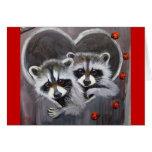 Raccoons and ladybugs greeting card