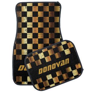 Race Car Checkered Flag in Black & Gold Car Mat