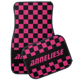 Race Car Checkered Flag Pattern   Black & Hot Pink Car Mat
