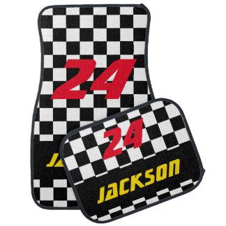 Race Car Checkered Flag Pattern   DIY Color & Text Car Mat
