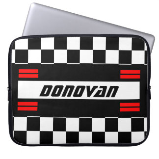 Race Car Checkered Flag Pattern Red, Black & White Laptop Sleeve