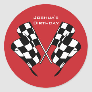 Race Cars Checkered Flag Envelope Seal Sticker