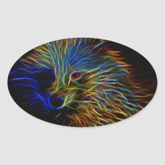 Racoon Dog Abstract Oval Sticker