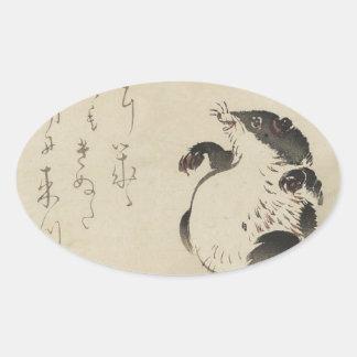 Racoon-dog (Tanuki) by Shibata Zeshin Oval Sticker