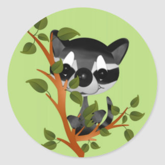 Racoon in a Tree Classic Round Sticker