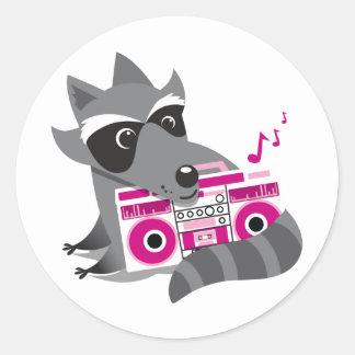 racoon rock classic round sticker