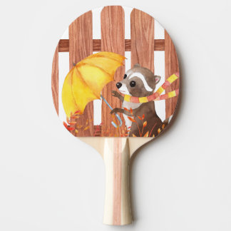 racoon with umbrella walking by fence ping pong paddle