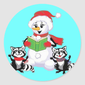 Racoons and Snowman Christmas Carol Sticker
