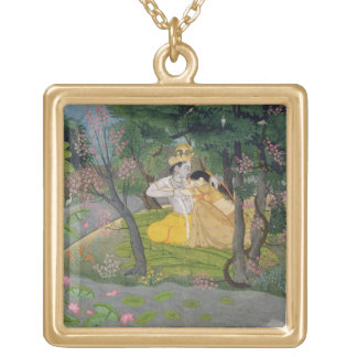 Radha and Krishna embrace in a grove of flowering Gold Plated Necklace