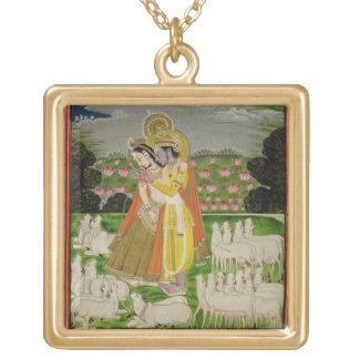 Radha and Krishna embrace in an idealised landscap Gold Plated Necklace