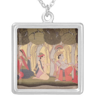 Radha and Krishna seated in a grove, Kulu Silver Plated Necklace