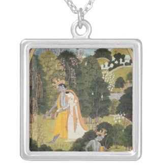 Radha and Krishna walking in a grove Silver Plated Necklace