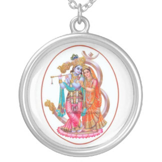 radha krishna silver plated necklace