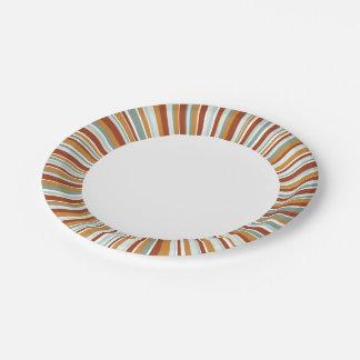Radial Stripes Retro 7 Inch Paper Plate