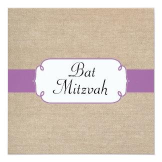 Radiant Orchid and Beige Burlap Bat Mitzvah Card