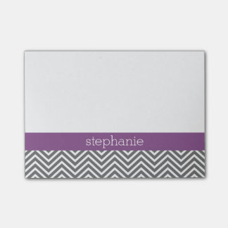 Radiant Orchid and Grey Chevrons Custom Name Post-it Notes
