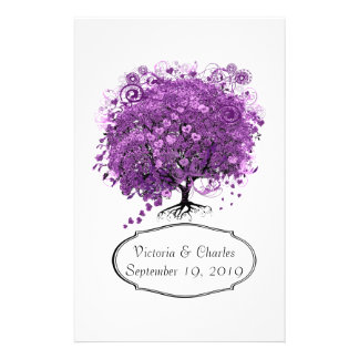 Radiant Orchid Heart Leaf Tree Wedding Stationery