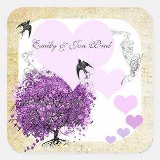 Radiant Purple Heart Leaf Tree Wedding Square Sticker