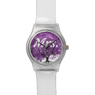 Radiant Purple Heart Leaf Tree Wedding Watch