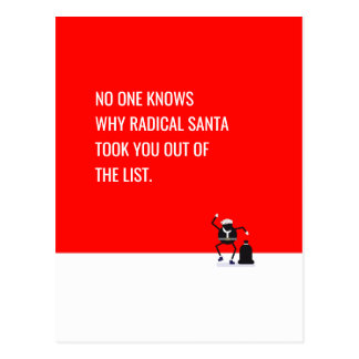Radical Santa Claus removList Funny memes EDITABLE Postcard