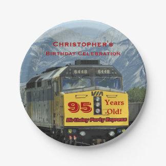 Railroad Train Paper Plates, 95th Birthday, Custom 7 Inch Paper Plate