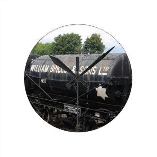 Railway scene - tankers - vintage round clock