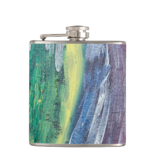 rain abstract art flask