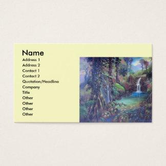 Rain Forest Landscape River Waterfalls Art Business Card