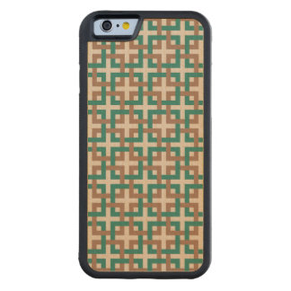 Rain Forest Squares and Tan Wood Case Carved® Maple iPhone 6 Bumper Case