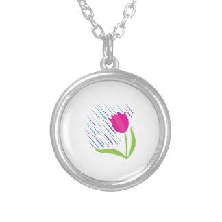Rain On Tulip Round Pendant Necklace