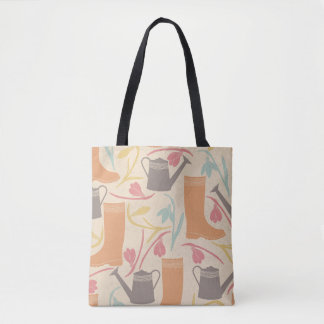 Rainboots, Watering Can Flowers Garden Pattern Tote Bag