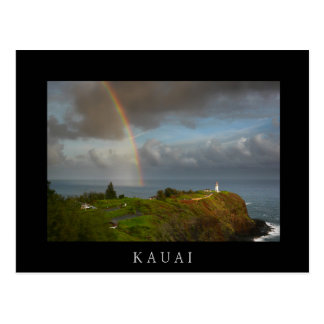 Rainbow and Kilauea Lighthouse black text postcard
