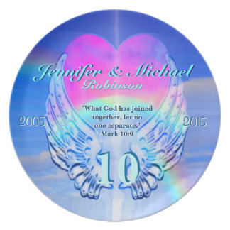 Rainbow Angel Wings and Heart Party Plate