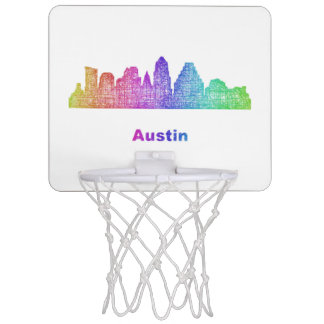 Rainbow Austin skyline Mini Basketball Hoop