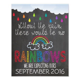 Rainbow Baby Announcement Photo Prop Sign, 11 x 14