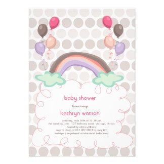 Rainbow Balloons Baby Girl Shower Invitation Invite