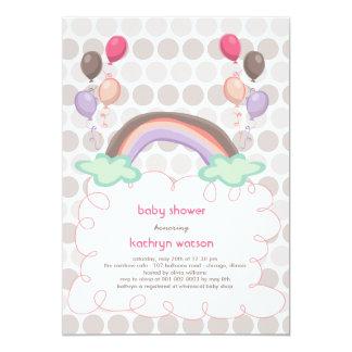 Rainbow & Balloons Baby Girl Shower Invitation Invite