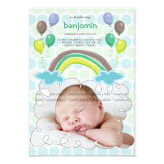 Rainbow & Balloons Boy Photo Birth Announcement Personalized Invites